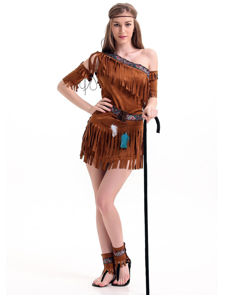 Cosplay International Sexy Costumes For Women Native American Pow Wow Adult Costume One Shoulder Fringe Dress Outfit H39295