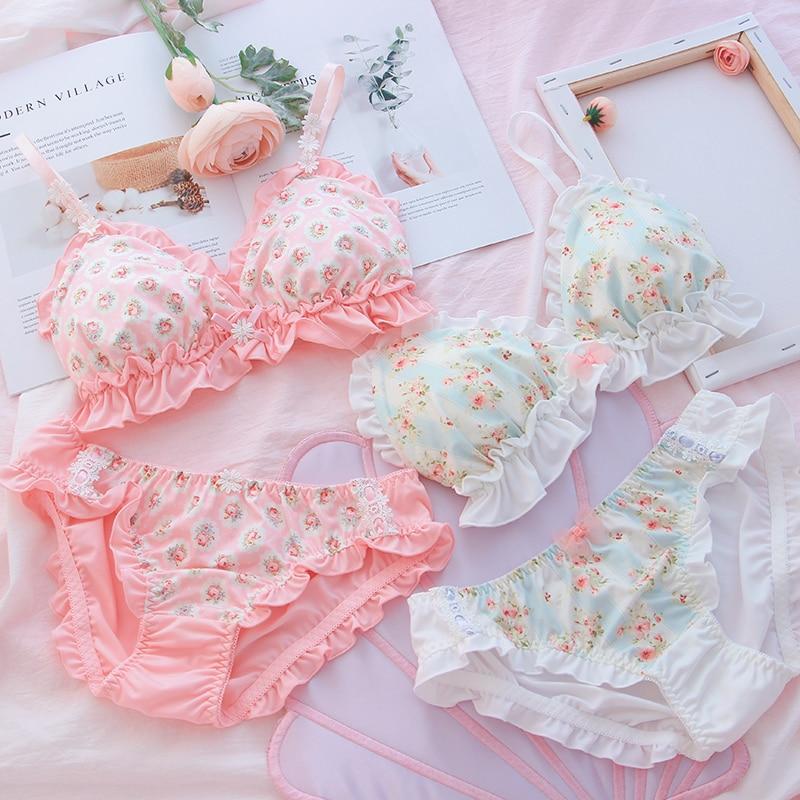 Soft Sister Floral Print Lace Ruffle Trim Underwear Set Japanese Fresh Bra & Panties Set Wirefree Intimates Set Kawaii Lolita