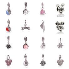 2016 New Free Shipping 1Pcs Silver Bead Charm European Silver With Mickey Cartoon Charm Pendant Bead Fit Pandora Bracelet Gift