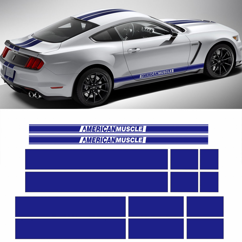 AMERICAN MUSCLE Side Door Stripes Front Rear Bumper Hood Roof Trunk Graphic Decal stickers for Ford Mustang 2015-2017, 4 colors car styling hood trunk rear bonnet side stripes decal stickers jcw work graphic all4 for mini cooper countryman f60 2017 present