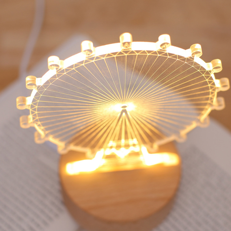 3D Night Light creative bedside Lamp and Table Light children room Ferris wheel shape solid wood base USB charging LED Light touching led usb charging bedside night light