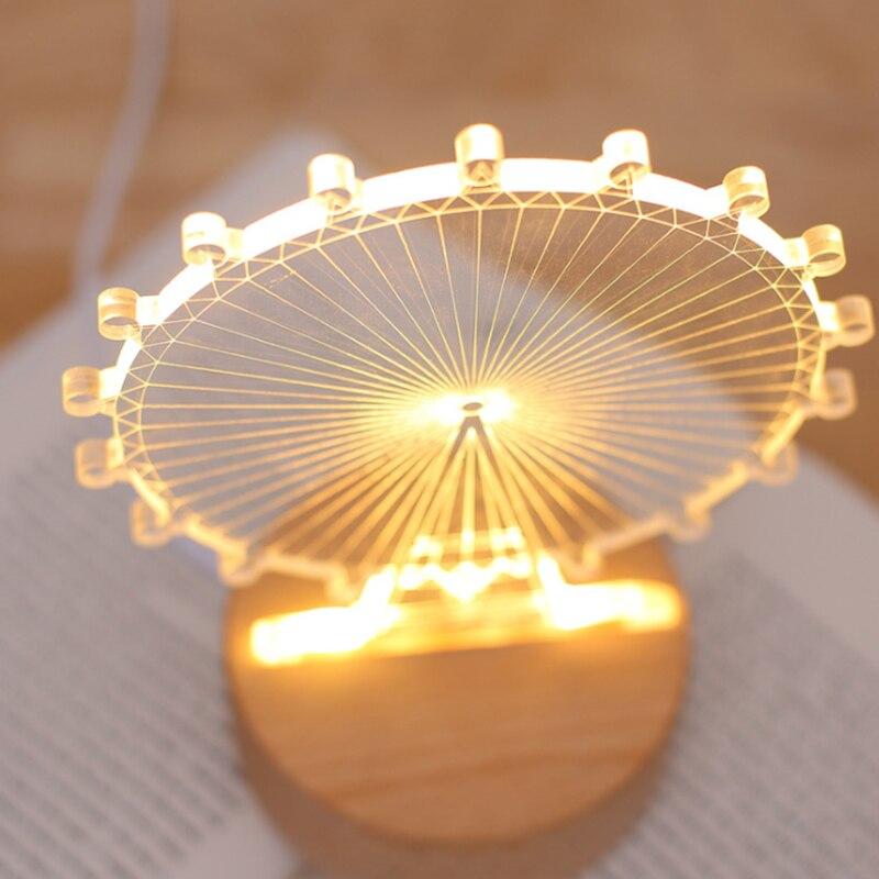 3D Night Light creative bedside Lamp and Table Light children room Ferris wheel shape solid wood base USB charging LED Light