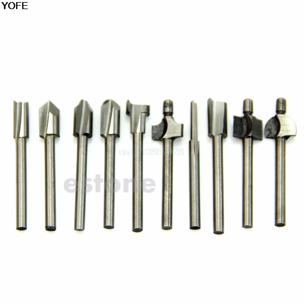 HSS Router Bits Wood Cutter Milling Fits Dremel Rotary Tool Set 10pcs 1/8 3mm 1 2 5 8 round nose bit for wood slotting milling cutters woodworking router bits