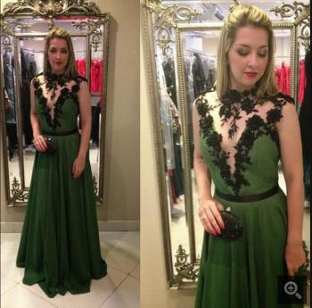 2016 new designer green lace appliques evening dress beading sequins sashes evening gowns best selling evening dresses