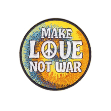Make LOVE Not War Peace Embroidered Hippie Iron On Jacket Patch Applique New