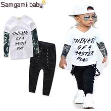 259848f7e6 Samgami bebé primavera y verano Ropa masculina de bebé set manga larga Tops  + Pantalones 2 unids blanco v-cuello DE LA MANERA Ni.