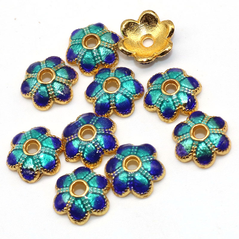 8mm Flowers Bead Caps Metal Alloy Enamel Cloisonne Diy Golden Copper Plated Beads Accessories For Women Bracelet Jewelry Making