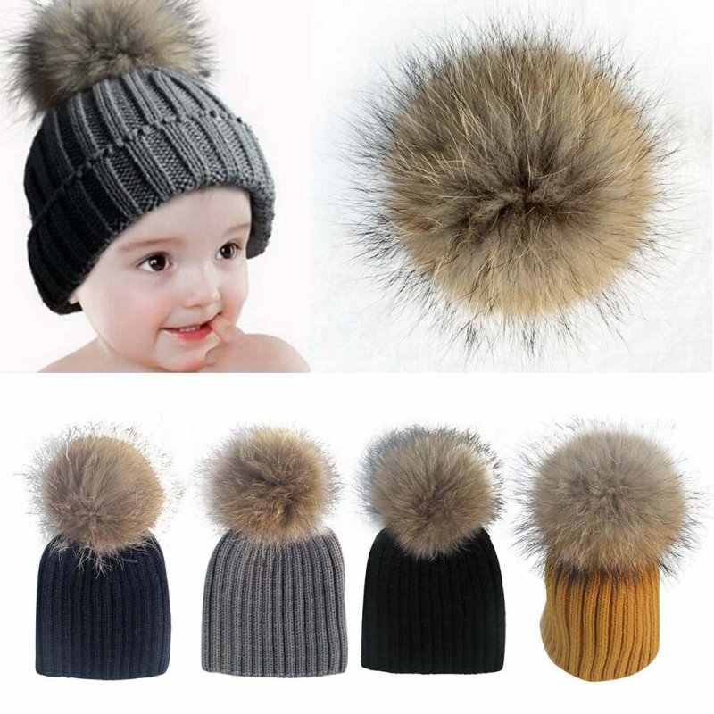 87d4c257a94 2017 Baby Lovely Beanie Raccoon Fur Pom Bobble Kids Woolen Hat Kids Warm  Crochet Hats Kawaii