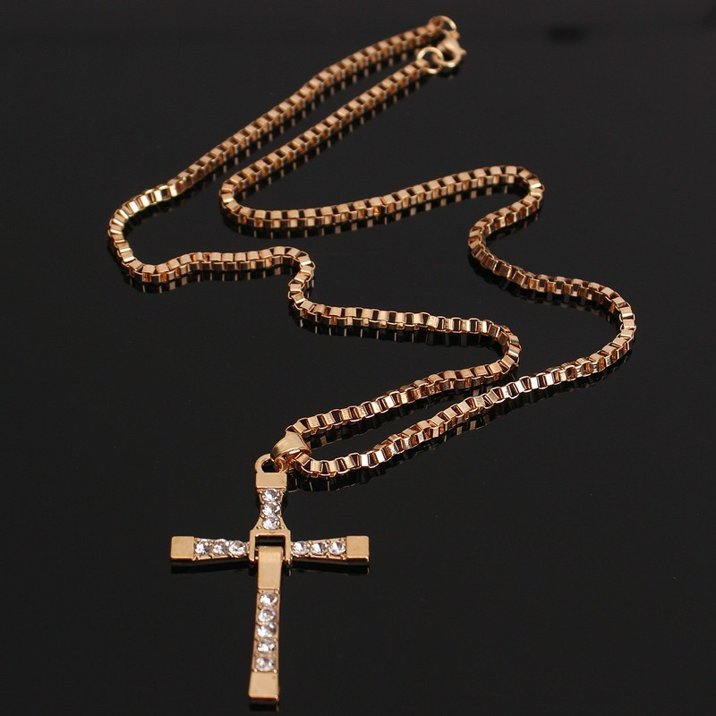 Movie blockbuster speed and passion Torreto cross pendant necklace men 39 s cross pendant costume sweater chain fashion jewelry in Pendants from Jewelry amp Accessories
