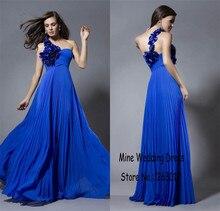 Sexy Hand Made blumen one-shoulder Abendkleid A-linie Royal blue abendkleid vestidos curtos Party Kleider
