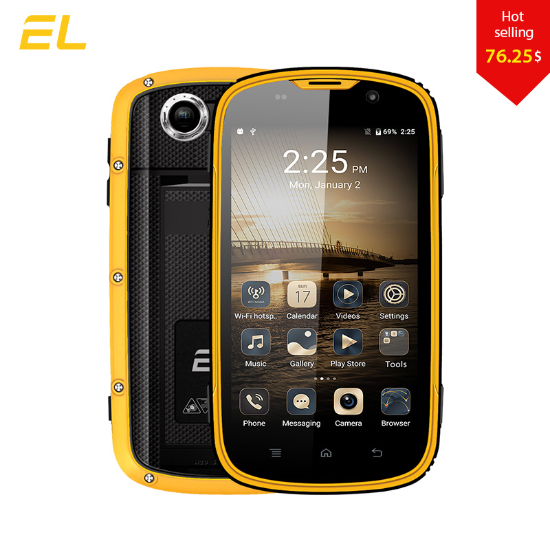 E L W5 Mobile Phone Android Original Phones Waterproof Shockproof Phone Quad Core Touch Phone font