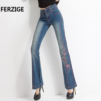 Jeans With Embroidery Woman Embroidered Slim Flare Floral Pattern Vintage Design Quality Female Pants Jean Bell