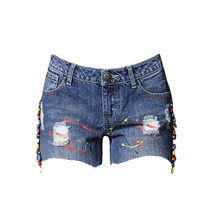 2019 Spring Summer Women New Ripped Hole Denim Shorts Personality Splash Paint High Waist Jeans Shorts Plus Size(China)