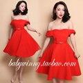 Frete grátis 2016 primavera New Vintage laranja doce Sexy alta cintura fina Strapless de lã vestido Tutu mulheres princesa Vestidos