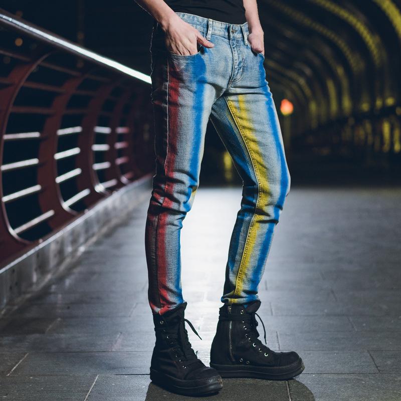 de3b1c60be09 ORINERY Size 28 40 Printed Jeans Men 2018 New Fashion Straight Jeans Men  Hip Hop Casual Denim Trousers Full Length Elastic Pants-in Jeans from Men s  ...