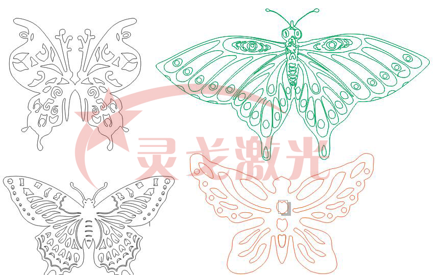 Butterflys DXF CAD Drawing File For Cnc Laser Cutting Engraving T7