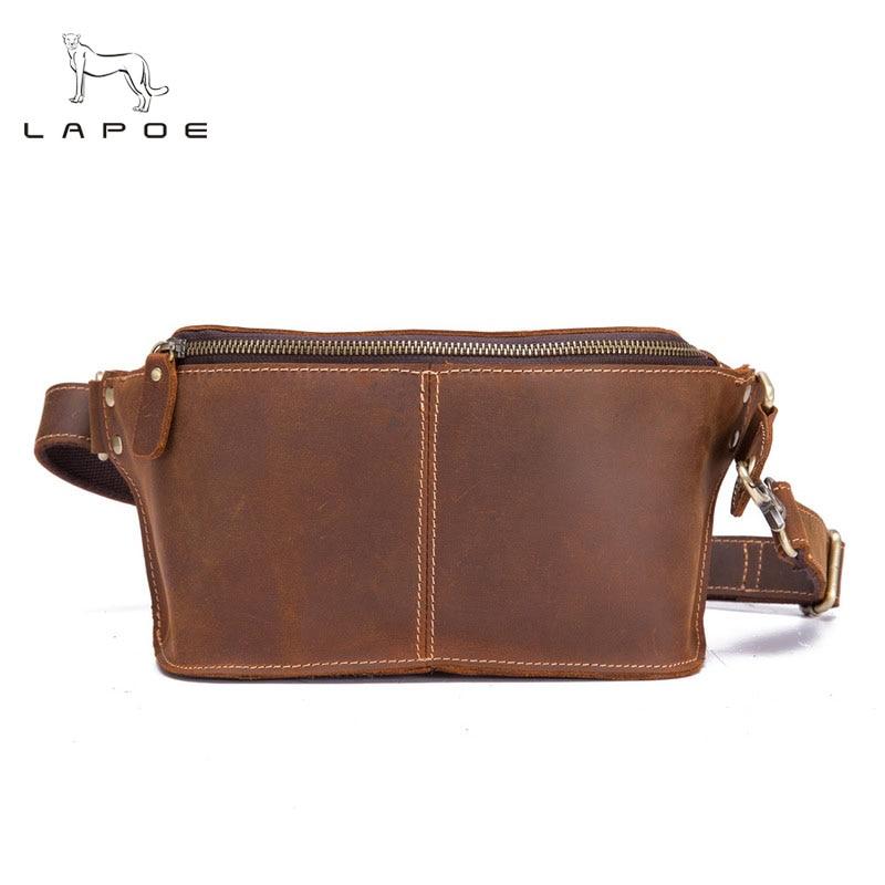 Crazy Horse Genuine Leather Men Waist Pack Bolso Cintura Homme Borsa Waist bag waist pack bag money belt waist pouch Men Bum Bag waist bag