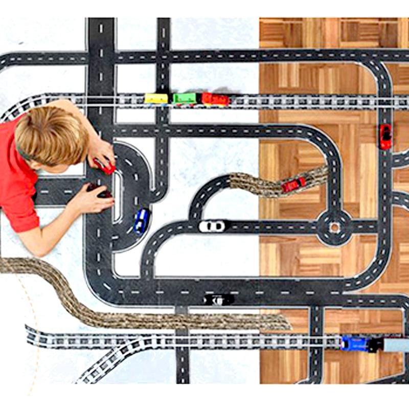 brezplačna dostava DIY cestni železniški pas nalepke cestne igrače Otroške izobraževalne igrače avto vlak cestni prizorišče načrtovanje igre