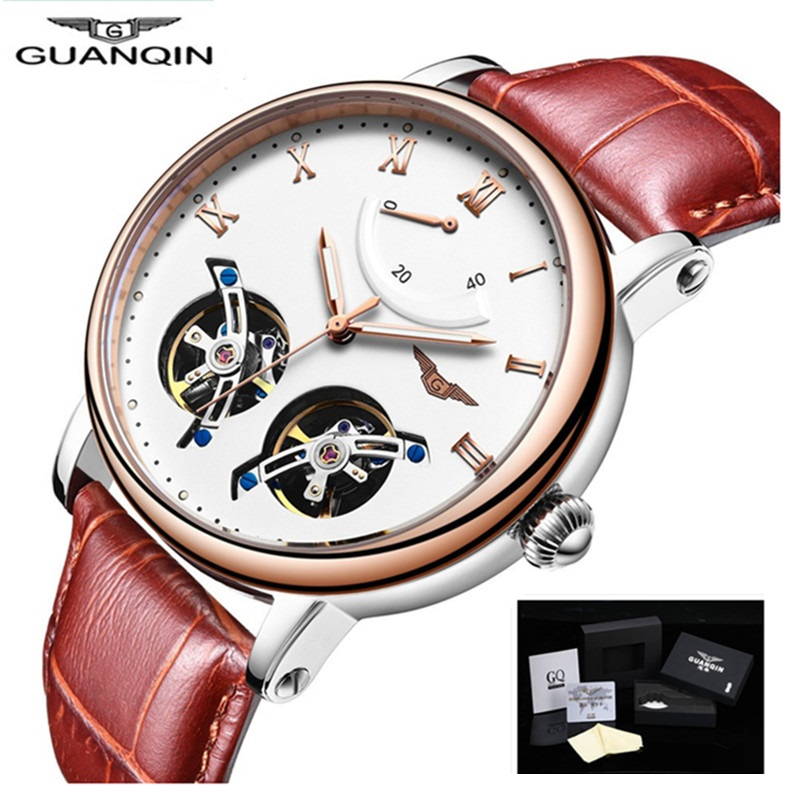 Quality Men Watches Top Brand Luxury GUANQIN Automatic Watch Men Sport Leather Mens Watches Tourbillon Mechanical Analog Watch mce sports mens watches top brand luxury genuine leather automatic mechanical men watch classic male clocks high quality watch