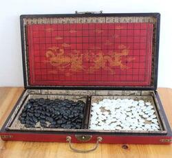 Chiński Go gra zestaw skórzane pudełko Goban Board i kamień Posągi i rzeźby    -