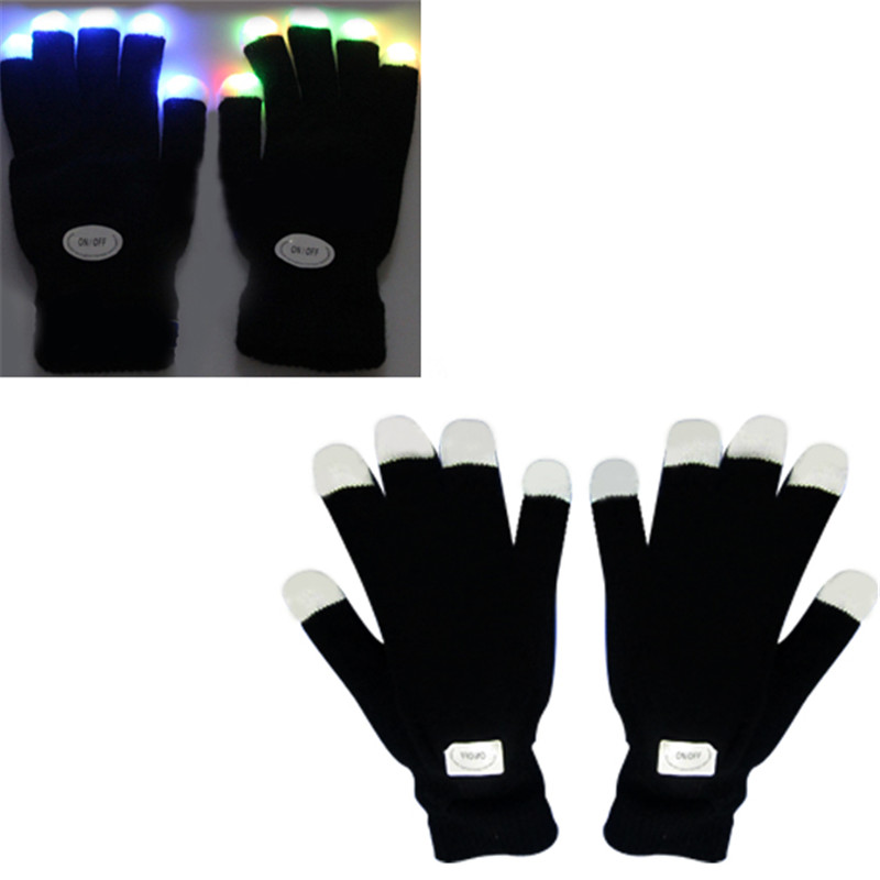 Unisex Winter Gloves Flashing Gloves Glow 7 Mode LED Rave Light Finger Lighting Mitt Hallowmas Party Decoration Tactical Gloves