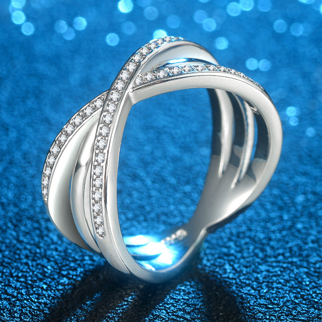 Fashion Solid 925 Silver Ring For Women Cross X Shape Exquisite Party Cocktail Ring Zirconia Micro Paved Silver Jewelry 1