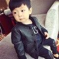 Jaqueta de couro 2017 de inverno da criança do bebê menino jaqueta de couro pu além disso velet menino criança revestimento Da Motocicleta casaco de couro crianças jaqueta