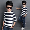 Boys T-Shirts Long Sleeve Sweatshirt Kids Pullover Clothes Black White Striped Teenage Clothes for Boys Spring Autumn Boys Tops