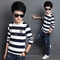 Meninos T-Shirts de Manga Comprida Camisola Crianças Pullover Roupas Black White Striped Roupas Adolescentes para Meninos Primavera Outono Meninos Encabeça