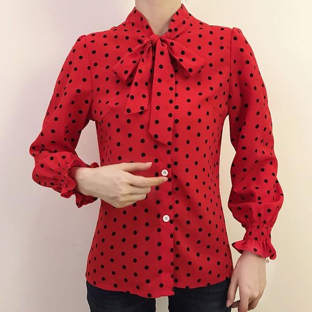 Spring Polka Dot Print Chiffon Blouses Women Lace-up Bow Office Elegant Shirts Tops Long Sleeve V-neck Blusas Mujer DD2614 6