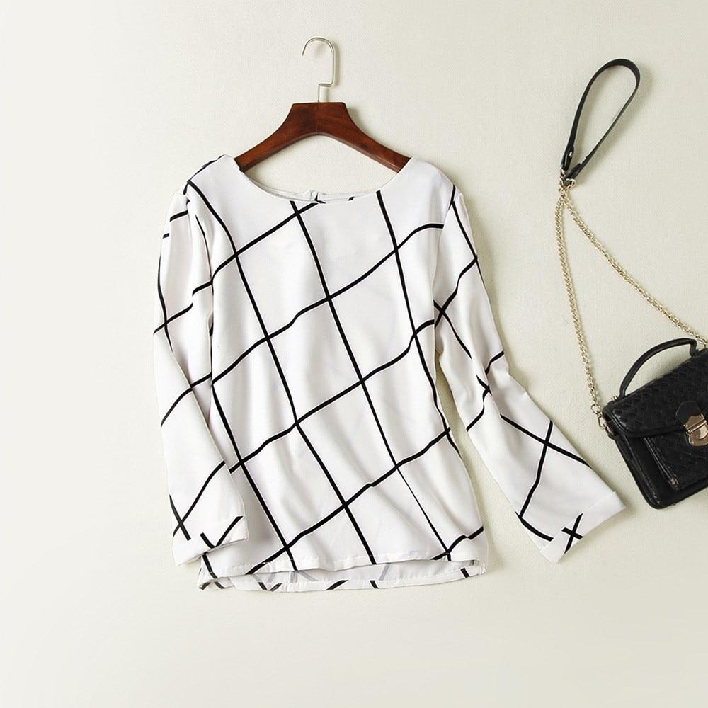 2018 New Autumn Women Office   Blouse     Shirts   Long Sleeve Plaid Print   Shirt   Fashion Style Lady OL Female Clothing Tops