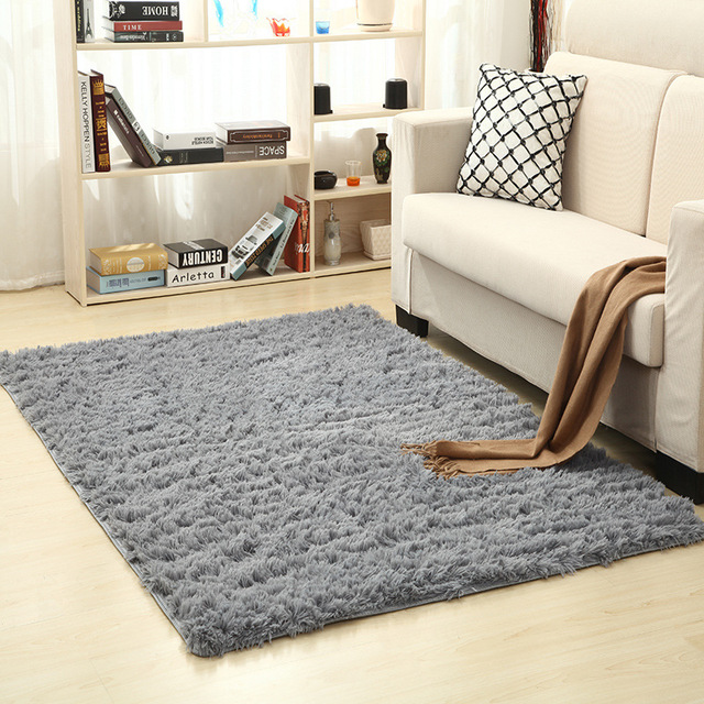 Super Soft Silk Wool Rug Indoor Modern Area Silky Rugs Bedroom Floor Mat Baby