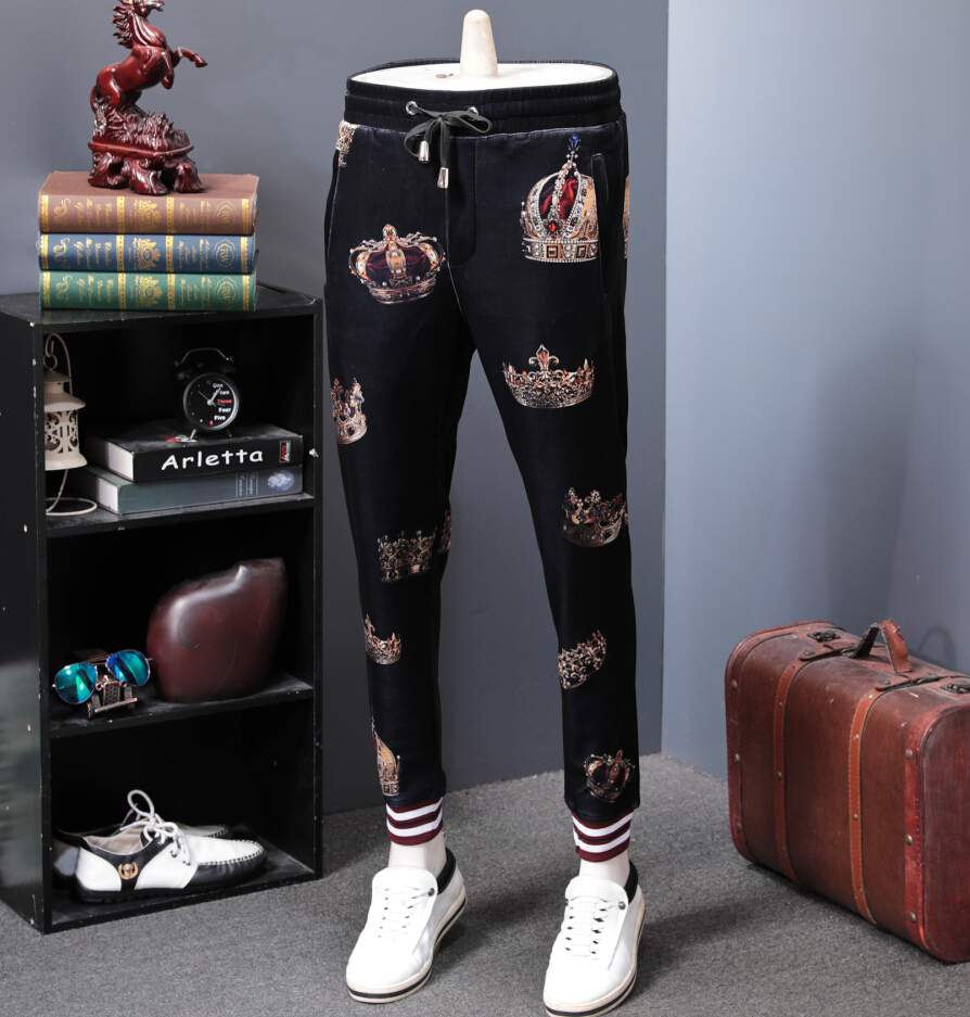Elastic Waist Track Pants Side Stripe Trousers Mens Design Cotton