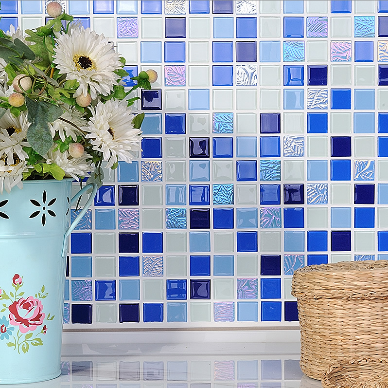Mediterranean Blue Clear Crystal Glass backsplash Tiles,Swimming pool Bathroom wall floor decor sticker,FREE SHIPPINGLSNSJ11 bathroom decor floral toilet lid wall sticker