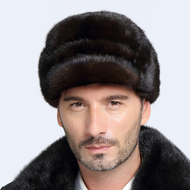 Winter Hats For Men Mink Fur Snow Warm Men Solid Classical Cap Forward Russia Middle-aged Rex Hat For Men free shipping