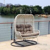 2 сидящих мебель современная Bay качалками бежевый корзина с серый подушки