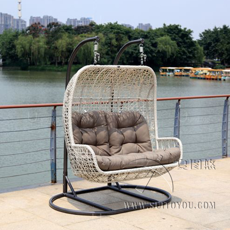 2 Seaters Furniture Modern Bay Swing Chair -Beige Basket With Grey Cushion