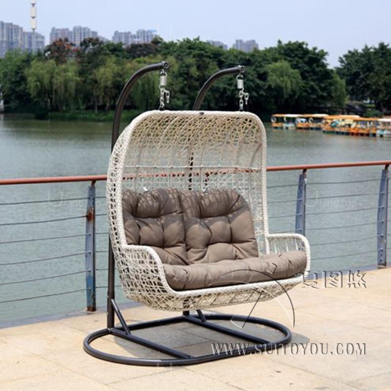 2 seaters Furniture Modern Bay Swing Chair -Beige Basket with grey Cushion korzilius modern ipe beige 2 mat 14 8x89 8