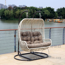 2 seaters Furniture Modern Bay Swing Chair -Beige Basket with grey Cushion(China)