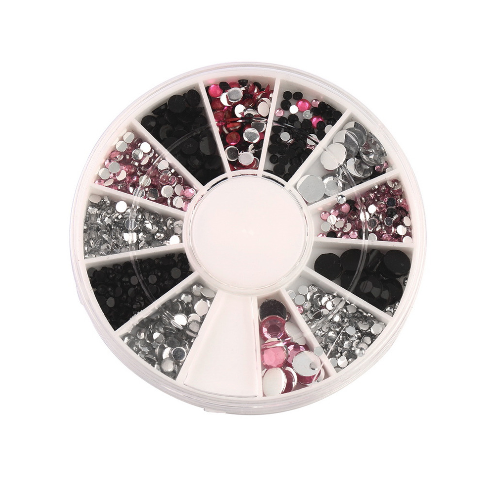 3d nail jewelry acrylic nail art decoration 4 sizes black white pink round wheel diy glitter rhinestones for nails charm tools in rhinestones decorations