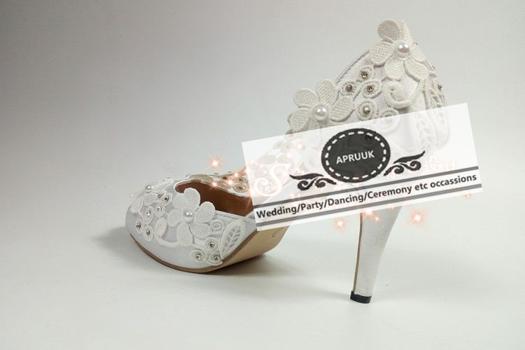 10cm 4 inch high heel summer peep toes ankle straps wedding shoes bride plus size HS364 sexy white lace crystal bridal pumps