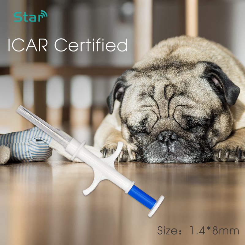 (20pcs/lot) 1.4*8mm Cat Microchip Animal Chip Rfid Pet Syringe FDX-B ISO11784/5 LF ICAR Certified Syringe For Pet Identification