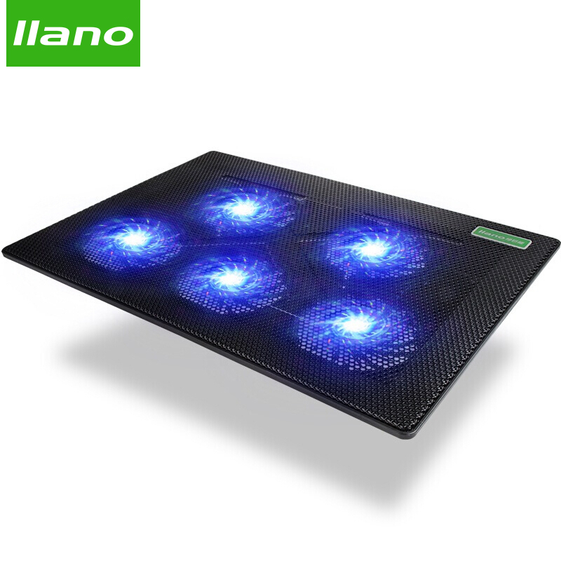 5 Fan 2 USB Laptop Cooler Cooling Pad Base LED Notebook Cooler Computer USB Fan Stand For Laptop PC Video 10-17 notebook cooling pad blue led laptop cooler 5 fans 2 usb port stand pad for laptop 10 17 pc usb cooler for notebook usb cord