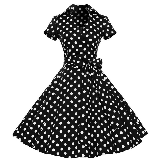 1950s Retro Audrey Hepburn Style V-Neck Swing Lapel Shirt Rockabilly Pinup Summer Dress