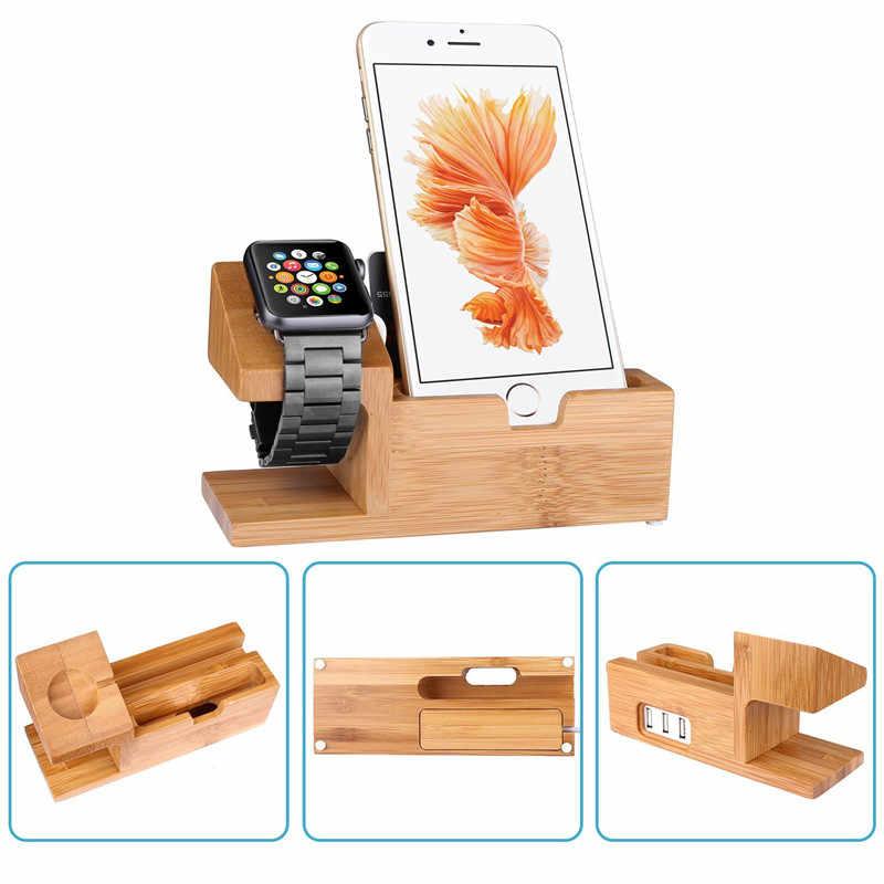Estación de carga de madera de bambú para Apple Watch estación de carga cargador soporte de soporte para iPhone 5S 6 soporte de base de soporte