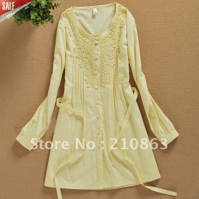114554dca816 Light yellow dress shirts for women long dresses fashion design lace long  sleeve summer comfortable clothes blouses 618Y