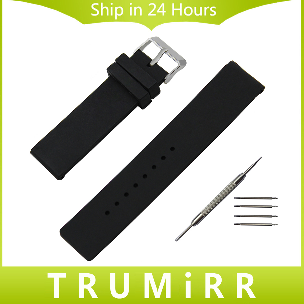 Silicone Rubber Watch Band Universal Watchband Stainless Steel Buckle Strap Wrist Bracelet Black White 16mm 18mm 20mm 22mm 24mm black 20mm band width rubber wrist watch band strap stainless steel pin buckle 2 spring bars