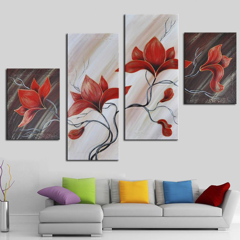 Modern 4 Panel Hand Painted Abstract Sets Red Flower Oil Painting On Canvas Home Decor Wall