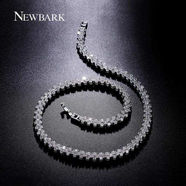 NEWBARK 234pcs CZ Diamond Triangle Design Necklace Silver Color Vintage Statement Necklaces & Pendants Women Jewelry For Party