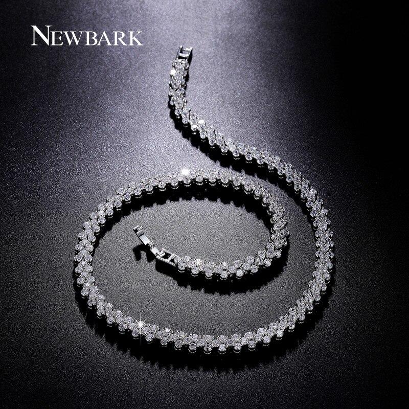 NEWBARK 234pcs CZ Diamond Triangle Design Necklace Silver Cos